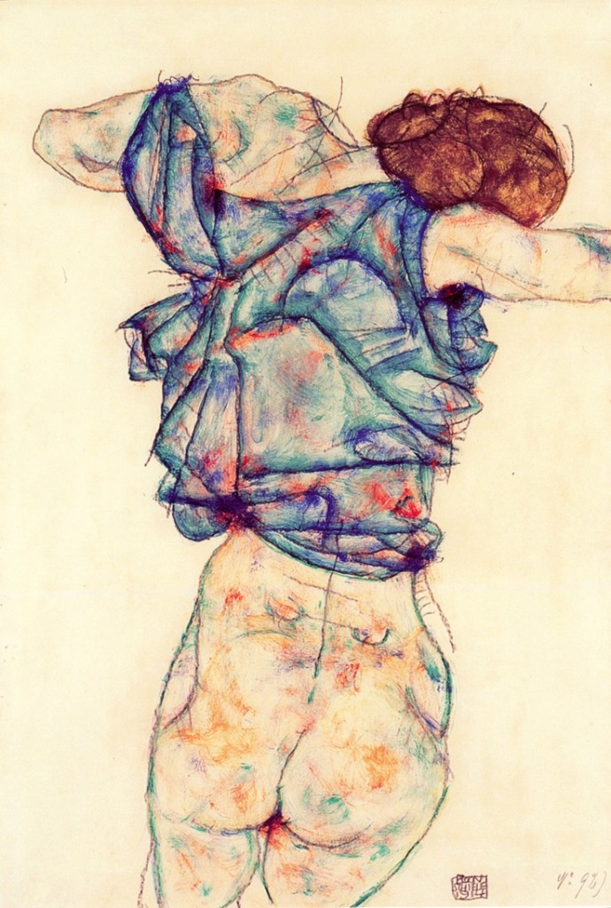Egon Schiele, Woman Undressing, 1914
